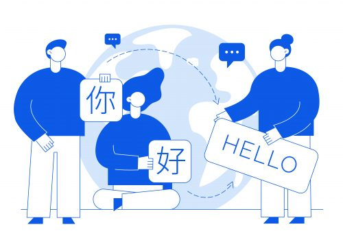 Vector flat line translation design concept of  big modern people, holding cards with word Hello in chinese and english. Trendy language courses, translation agency illustration with earth globe.